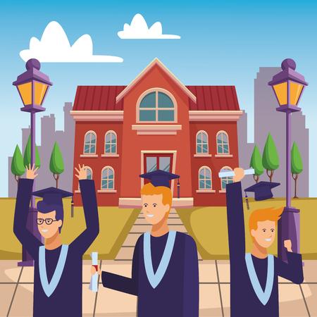 campus graduation ceremony diploma vector illustration graphic design