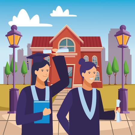 campus graduation celebration girls vector illustration graphic design