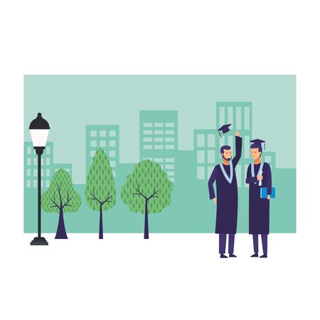 graduation ceremony diploma vector illustration graphic design Illustration