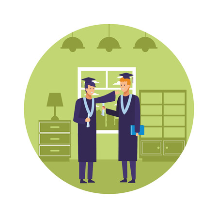 bedroom graduation diploma vector illustration graphic design