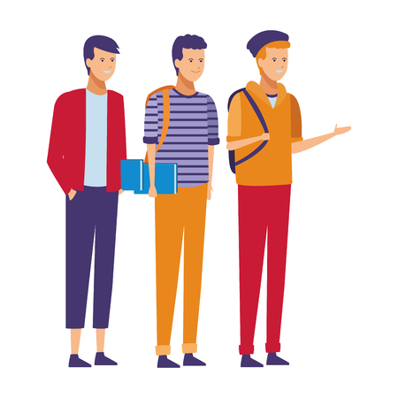 casual outfit friends students vector illustration graphic design