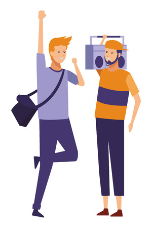 guys casual radio stereo party vector illustration graphic design