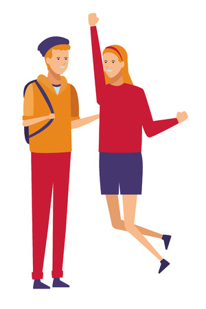 casual outfit couple celebration vector illustration graphic design