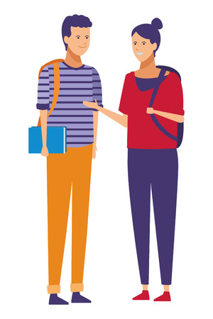 casual outfit couple talk vector illustration graphic design