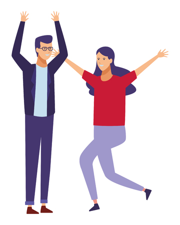 casual outfit couple dancing vector illustration graphic design Illustration