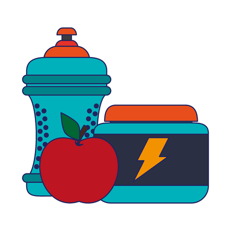 water bottle apple and energy pills vector illustration graphic design Ilustração