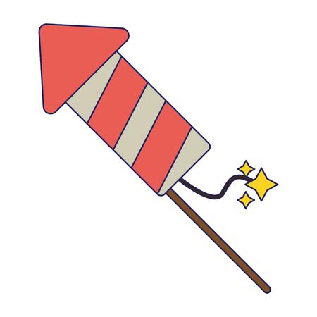 Firework rocket cartoon symbol vector illustration graphic design Çizim