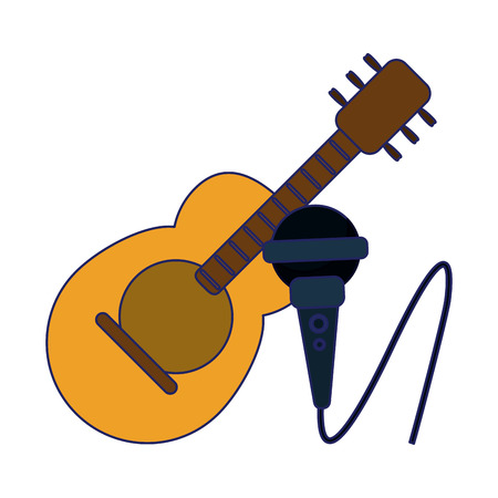Acoustic guitar and microphone cartoon vector illustration graphic design