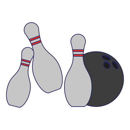 Bowling ball and pins cartoon isolated vector illustration graphic design