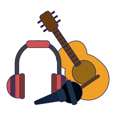 Acoustic guitar microphone and music headphones vector illustration graphic design Illustration