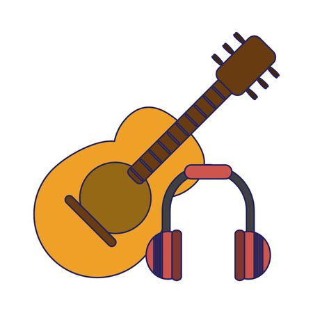 Acoustic guitar and music headphones vector illustration graphic design