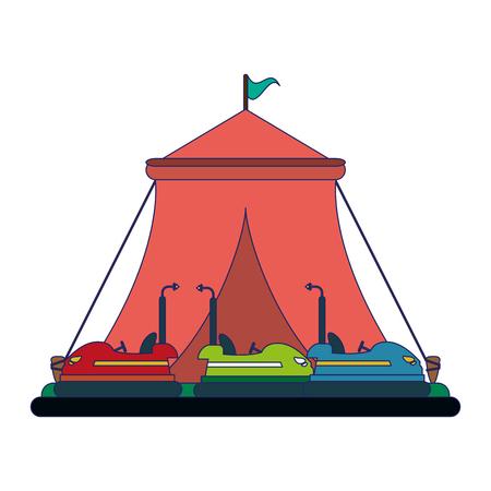 Festivalzelt und Stoßstangen Autos Vektor-Illustration Grafikdesign