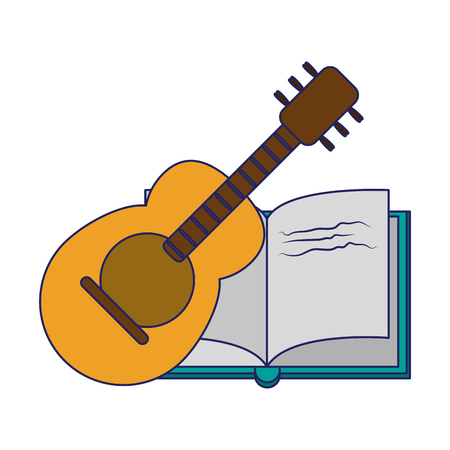 book and acoustic guitar elements vector illustration graphic design