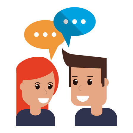 Man and woman with speech bubbles vector illustration graphic design