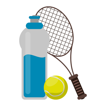 Tenis sport game water bottle racket and ball vector illustration graphic design