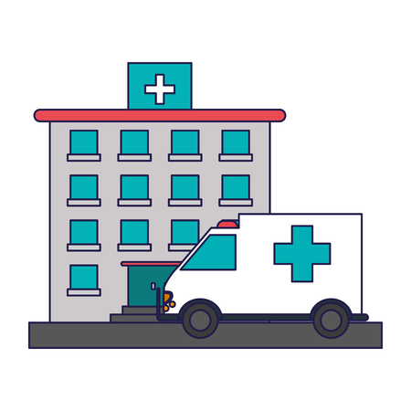 hospital building and ambulance vector illustration graphic design