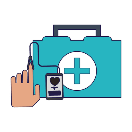 medical first aids suitcase and smartphone medical app vector illustration graphic design