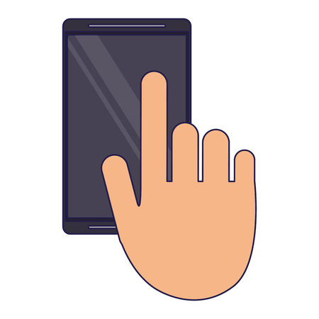 hand using smartphone symbol vector illustration graphic design Vettoriali
