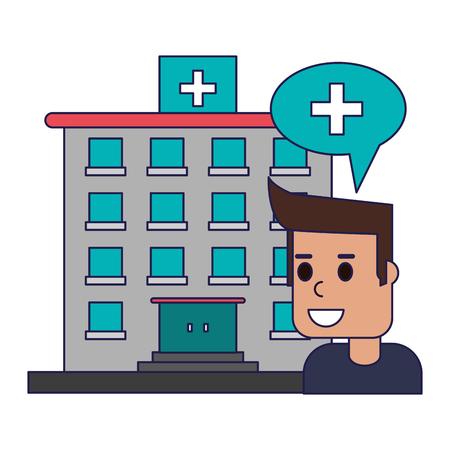 patientin hospital building symbol vector illustration graphic design Illustration