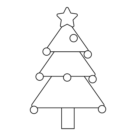 christmas tree with star and balls vector illustration graphic design