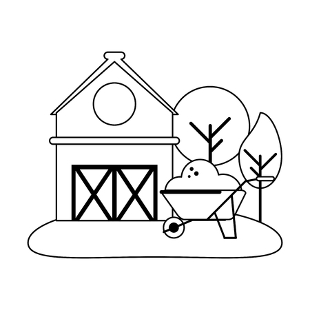 Farm house and wheelbarrow with ground vector illustration graphic design