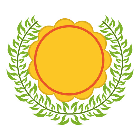 Badge emblem with wreath leaves vector illustration graphic design  イラスト・ベクター素材