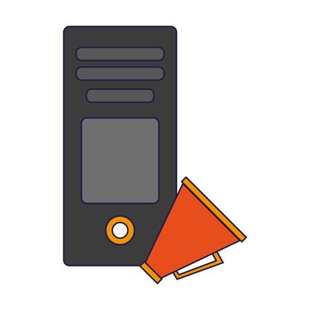 cpu tower and bullhorn symbol vector illustration graphic design
