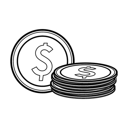 coins money cartoon isolated vector illustration graphic design