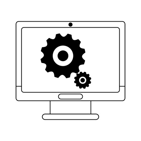computer screen with gears symbol vector illustration graphic design
