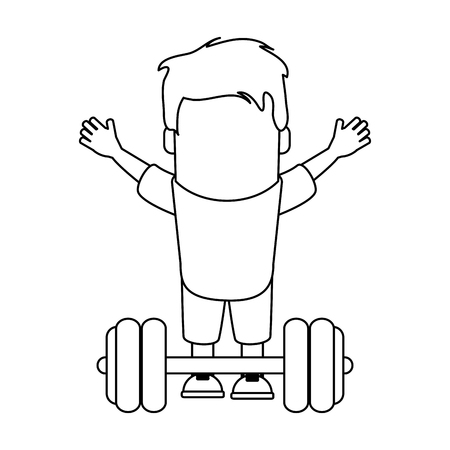 Funny Avatar man with barbell vector illustration graphic design Vettoriali