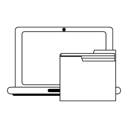 laptop with folder symbol vector illustration graphic design