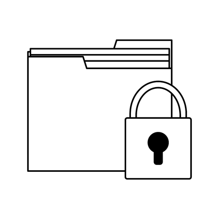 folder with padlock symbol vector illustration graphic design Ilustracja