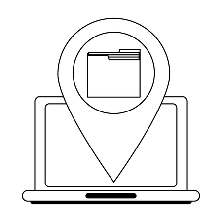 laptop with folder location pin vector illustration graphic design Ilustracja