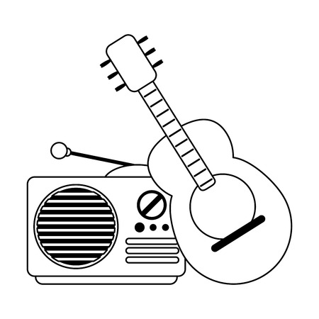 Acoustic guitar and old radio cartoon vector illustration graphic design