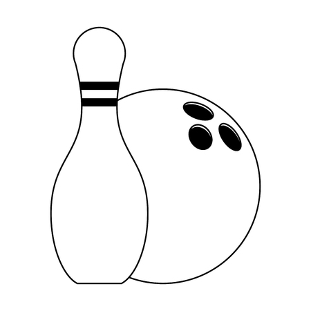 Bowling pin and ball cartoon vector illustration graphic design