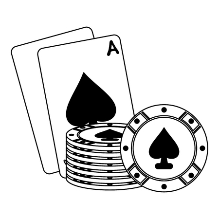Casino cards with chips elements vector illustration graphic design