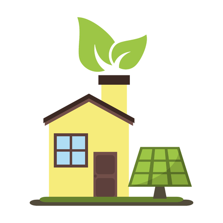Eco house with leaf and solar panel vector illustration graphic design