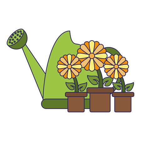 Gardening can with flowers in pot vector illustration graphic design