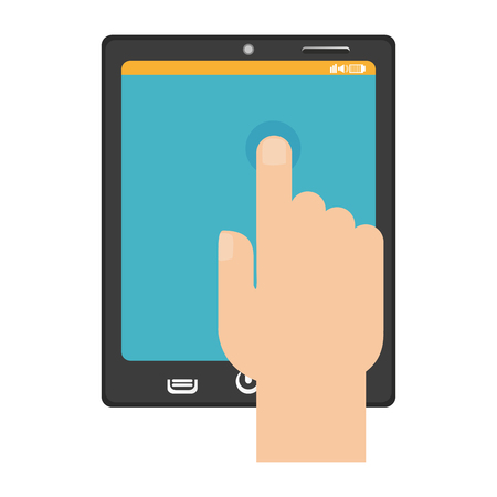 hand touching tablet with finger vector illustration graphic design Illustration