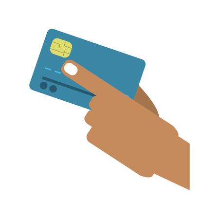 had holding credit card vector illustration graphic design