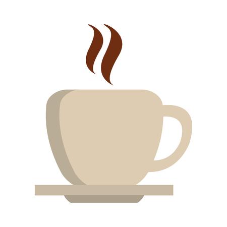 hot coffee cup on dish vector illustration graphic design Illustration
