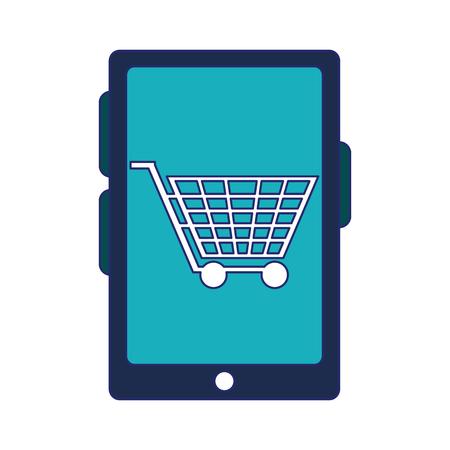 shopping online cart on smartphone screen symbol vector illustration graphic design  イラスト・ベクター素材