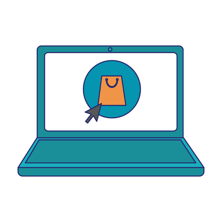 shopping online laptop clicking in buy button vector illustration graphic design  イラスト・ベクター素材