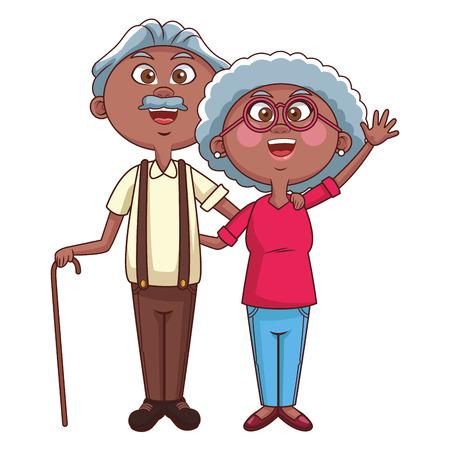 elder couple cane vector illustration graphic design