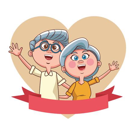 elder couple love banner vector illustration graphic design 向量圖像