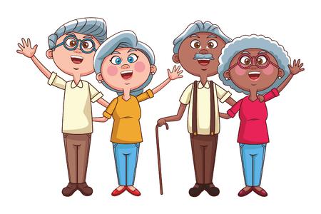 elder couples retirement vector illustration graphic design