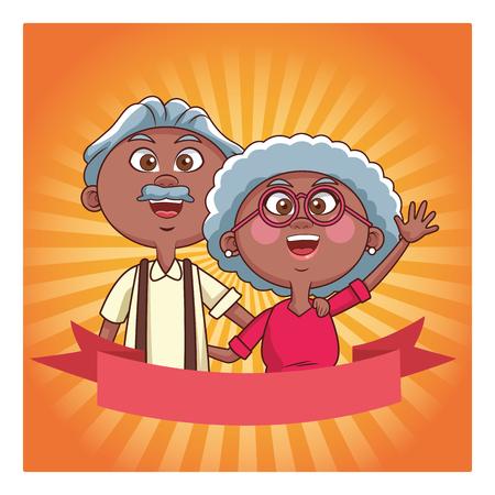 elder couple shine banner vector illustration graphic design