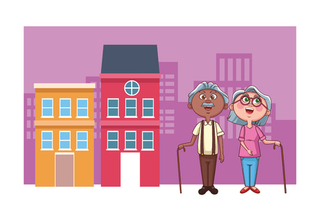 elder couple grandparents vector illustration graphic design