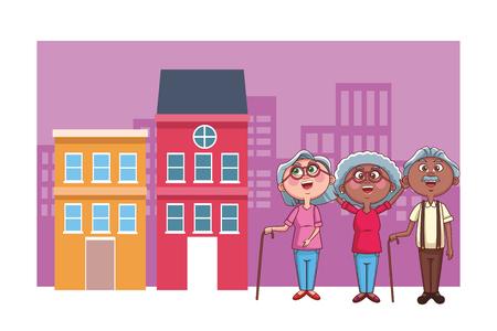 elder people cheerful vector illustration graphic design