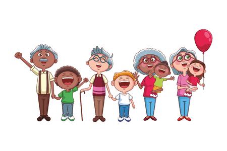 grandparents elder afro grandchildren vector illustration graphic design
